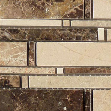 Emperador Dark + Crema Marfil + Emperador Light – Cascade Glass Series – Glazzio Glass Tile