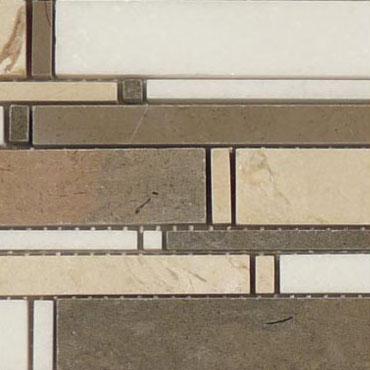 Lagos Azul + Crema Marfil + Thassos White – Cascade Glass Series – Glazzio Glass Tile