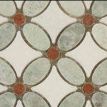 Ming Green + Red + Thassos White – Flower Glass Series – Glazzio Glass Tile