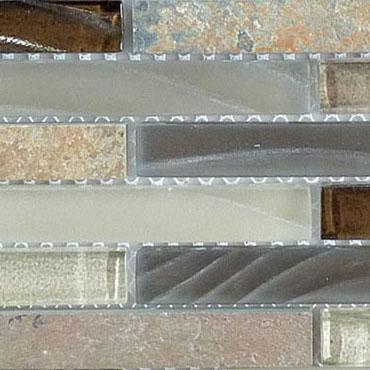 Rustic Taupe – Glass & Slate Brick Glass Series – Glazzio Glass Tile