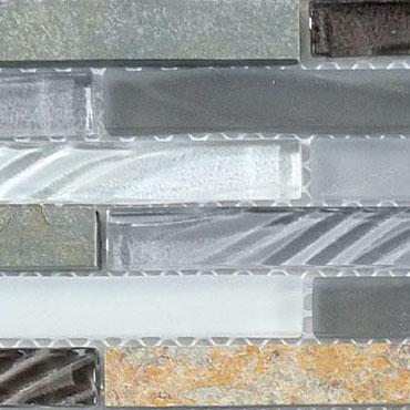 Sag Harbor Gray – Glass & Slate Brick Glass Series – Glazzio Glass Tile