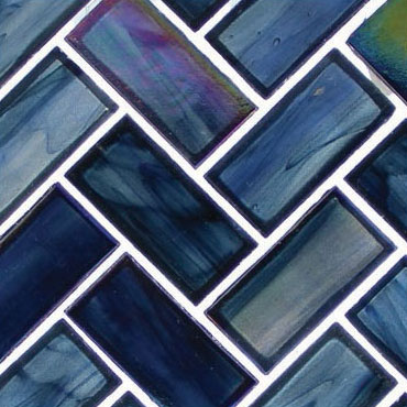 Cobalt Sea – Oceania Herringbone Glass Series – Glazzio Glass Tile