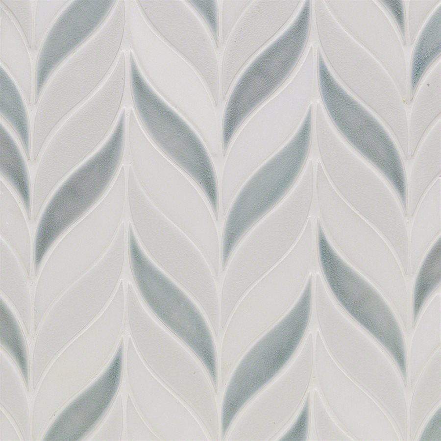Baroque Floret Sky, Blanco & White Jade – Baroque Series – Glazzio Glass Tile