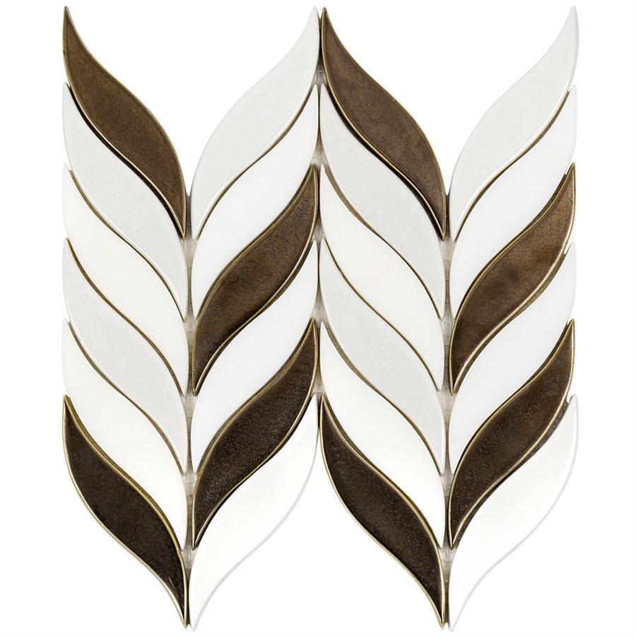 Baroque Floret Copper & White Jade – Baroque Series – Glazzio Glass Tile