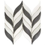 Baroque Floret Gun Metal & White Jade – Baroque Series – Soho Glass Tile