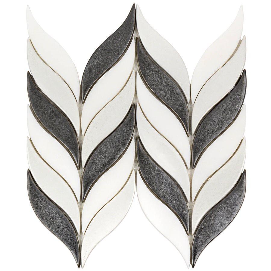 Baroque Floret Gun Metal & White Jade – Baroque Series – Glazzio Glass Tile