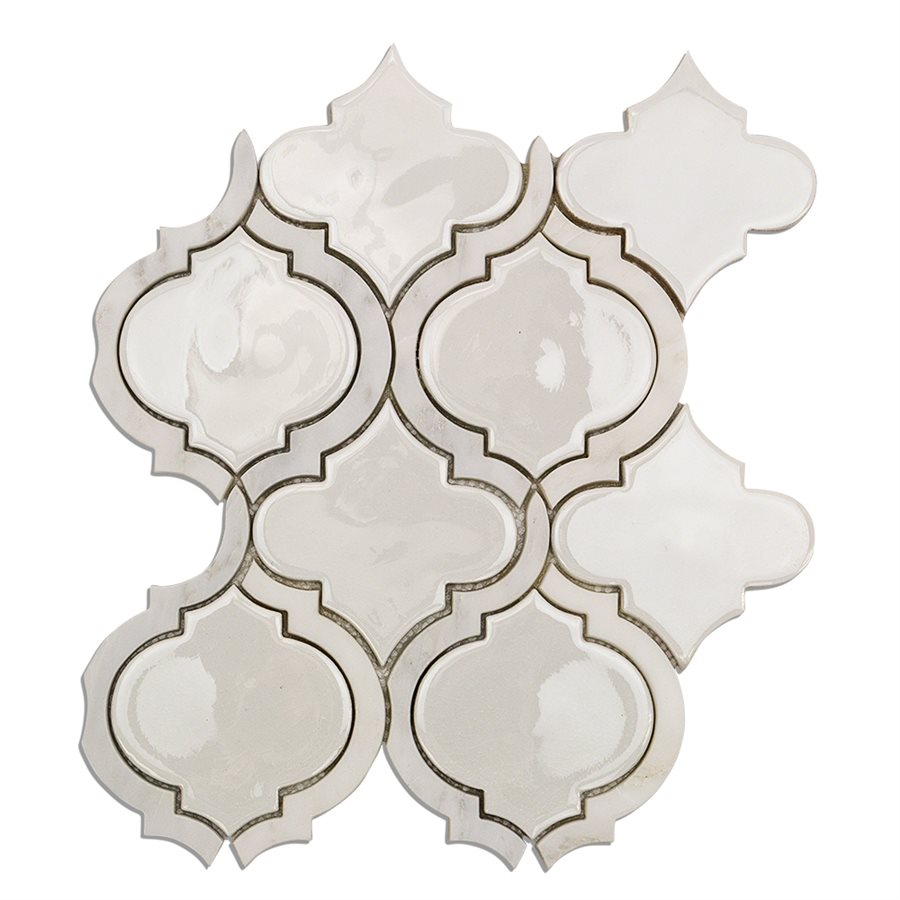 Baroque Lantern Blanco with Asian Statuary Lines – Baroque Series – Glazzio Glass Tile