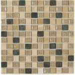 Country Travertine with 1×1 Deco – Art Glass Series – Soho Glass Tile