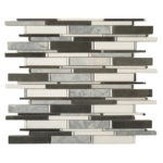 Mugworth + Thassos White + Basalt – Cascade Glass Series – Glazzio Glass Tile