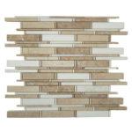 Crema Marfil + Thassos White + Emperador Light – Cascade Glass Series – Glazzio Glass Tile