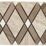 Wooden White + Athens Gray + Thassos White – Diamond Listello Glass Series – Glazzio Glass Tile