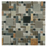 Northampton Putty – Glass & Slate Block Random Glass Series – Glazzio Glass Tile