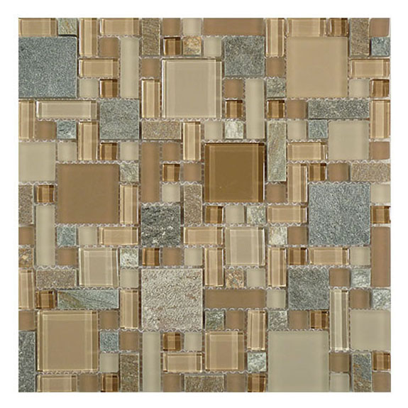 Chestnut Screen – Glass & Slate Block Random Glass Series – Glazzio Glass Tile