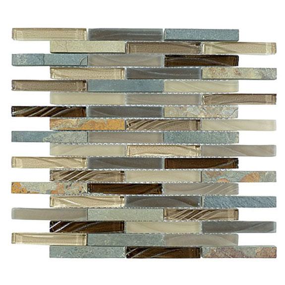 Titanium Filed – Glass & Slate Brick Glass Series – Glazzio Glass Tile