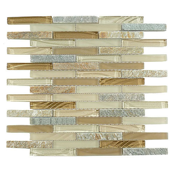 Chestnut Screen – Glass & Slate Brick Glass Series – Glazzio Glass Tile