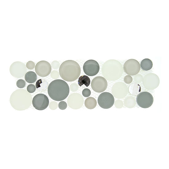 Smokey Froth – Symphony Bubble Listello Glass Series – Glazzio Glass Tile