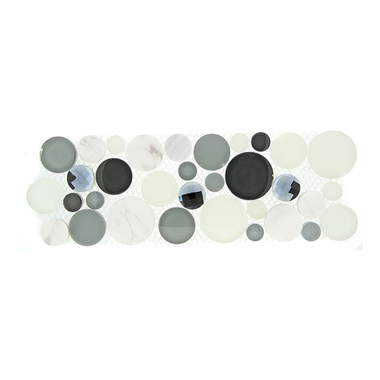 Grey Fizz – Symphony Bubble Listello Glass Series – Glazzio Glass Tile