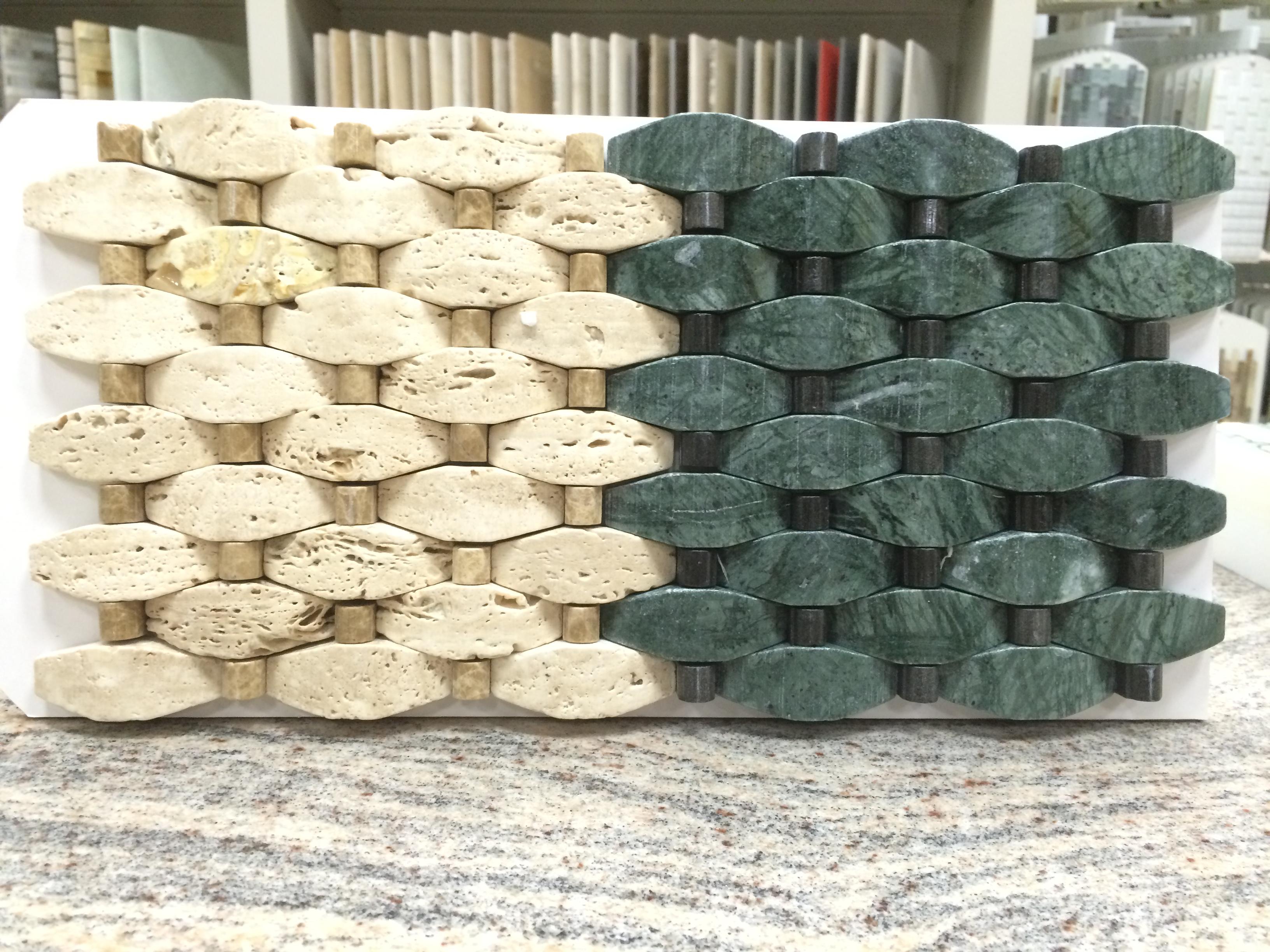 Verde-Lushan Green with Mongolia Black Dots – Stone Peak Glass Series – Glazzio Glass Tile