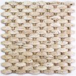 Travertine with Emperador Light Dots – Stone Peak Glass Series – Soho Glass Tile