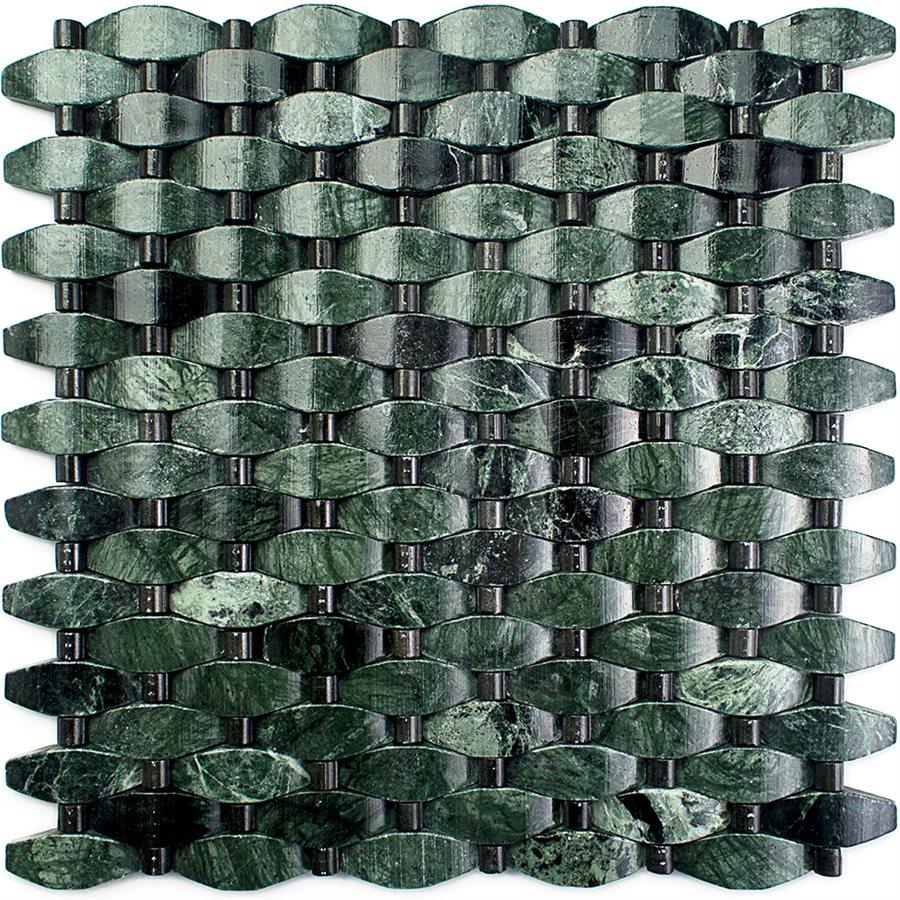 Verde – Lushan Green with Mongolia Black Dots – Stone Peak Glass Series – Glazzio Glass Tile